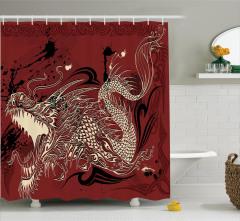 Ejderha Eskizi Etkili Duş Perdesi Japon Mitolojisi