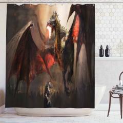 Şövalye Ejderhaya Karşı Temalı Duş Perdesi Fantastik