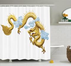 Japon Dekor Duş Perdesi Alttın Sarısı Ejderha