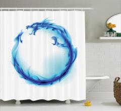 Mavi Ejderha Figürü Duş Perdesi Modern Sanat Tasarım