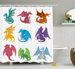 Çocuklar için Duş Perdesi Rengarenk Ejderha Desenli