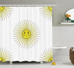 Güneş Desenli Duş Perdesi Trend Otantik Sarı Beyaz