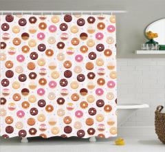Kafeler için Duş Perdesi Donut ve Minik Kalp Desenli