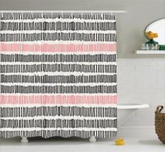 Modern Dekoratif Duş Perdesi Trend Mercan Siyah Bej
