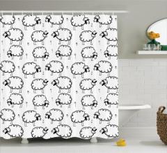 Çocuklara Özel Duş Perdesi Komik Koyun Desenli Beyaz