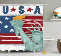 Özgürlük Heykeli Temalı Duş Perdesi Amerikan Anıtı