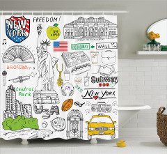 Amerika Temalı Duş Perdesi New York Özgürlük Heykeli