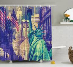 Özgürlük Heykeli Temalı Duş Perdesi Amerikan Bayrağı