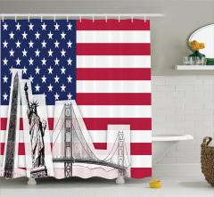 Amerika Temalı Duş Perdesi Özgürlük Heykeli Eskizi