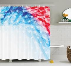 Amerikan Bayrağı Temalı Duş Perdesi Parlak Yıldızlar