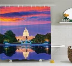 Beyaz Saray Baskılı Duş Perdesi Amerikan Gün Batımı