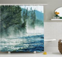 Vahşi Doğa Temalı Duş Perdesi Nehir Ağaçlar Orman