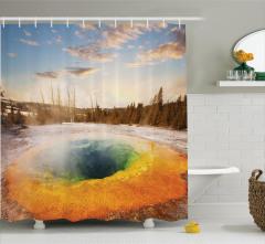 Volkanik Gölet Temalı Duş Perdesi Büyüleyici Doğa