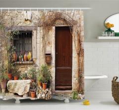 Köy Hayatı Temalı Duş Perdesi Fransız Mimari Eski Ev