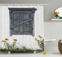 Köy Hayatı Temalı Duş Perdesi Ahşap Panjur Çiçekler