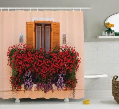 Yaz Mevsimi Temalı Duş Perdesi Rengarenk Çiçekler