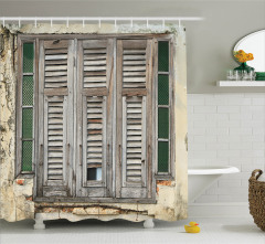 Nostaljik Duş Perdesi Eski Moda Pencere Kahverengi