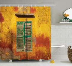 Nostaljik Duş Perdesi Bohem Eski Moda Sarı Pencere