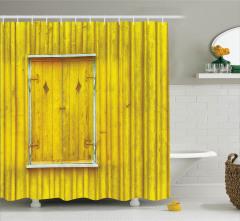 Nostaljik Duş Perdesi Ahşap Görünümlü Tasarım Sarı
