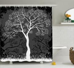 Gri Duş Perdesi Ağaç İlkbahar Modern Sanatsal Siyah