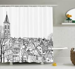 Çatı Katı Manzaralı  Duş Perdesi Avrupa Şehri Deseni