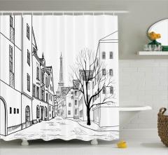 Eyfel Kulesi Temalı Duş Perdesi Paris Sokakları