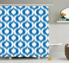 Duş Perdesi Mavi Beyaz Modern Desenler Şık Tasarım