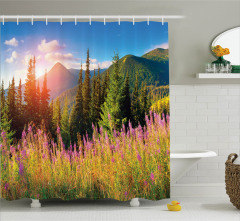 Doğada Bahar Temalı Duş Perdesi Dağlar Ağaç Çiçekler