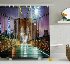 Brooklyn Köprüsü Temalı Duş Perdesi New York Simgesi