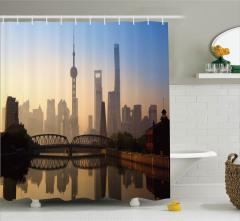 Şangay'da Gün Doğumu Duş Perdesi Puslu Hava Gri