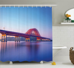 Kırmızı Köprü Manzaralı Duş Perdesi Nehir Doğa Mavi