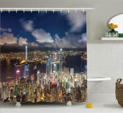 Hong Kong Limanı Manzaralı Duş Perdesi Gökdelenler