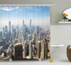 Chicago Havadan Görünümlü Duş Perdesi Metropolis Gri