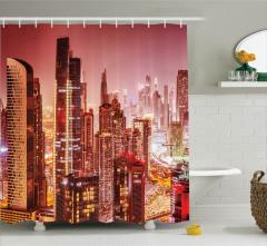 Dubai Manzaralı Duş Perdesi Modern Mimari Gökdelen