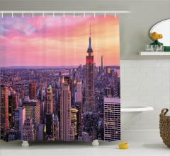 New York Manzaralı Duş Perdesi Ufuk Çizgisi Turuncu