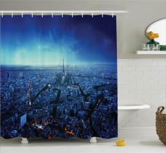 Gün Batımında Paris Silüeti Duş Perdesi Eyfel Kulesi