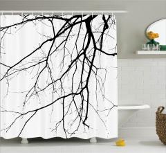 Siyah Beyaz Duş Perdesi Sonbaharda Ağaç Dalları