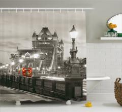 Londra Köprü Manzaralı Duş Perdesi Antik Mimari Gri