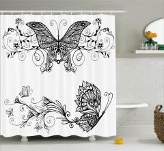 Zarif Kelebek Desenli Duş Perdesi Şık Tasarım Siyah