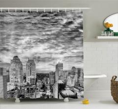 Nostaljik New York Manzarası Duş Perdesi Siyah Beyaz