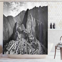 Dağ Köyü Manzaralı Duş Perdesi Nostaljik Peru Siyah