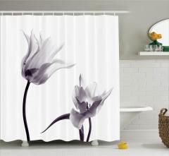 Lale Desenli Duş Perdesi Baharın Habercisi Çiçekler