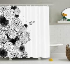 Şık Tasarım Duş Perdesi Siyah Beyaz Kuş Aşk Çiçekler