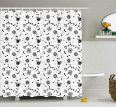 Retro Stili Çiçek Desenli Duş Perdesi Siyah Beyaz