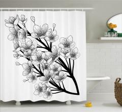 Nostaljik Çiçek Dalı Desenli Duş Perdesi Siyah Beyaz