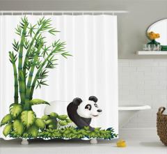 Çocuklar için Duş Perdesi Sevimli Panda Bambu Ağacı