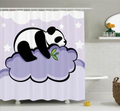 Çocuklar için Duş Perdesi Bulut Üzerinde Panda Mor
