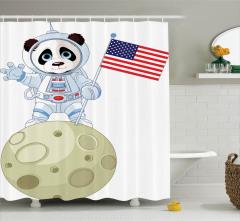 Çocuklar için Duş Perdesi Astronot Panda Ayda Beyaz