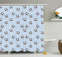 Çocuklar için Duş Perdesi Komik Mutlu Panda Desenli