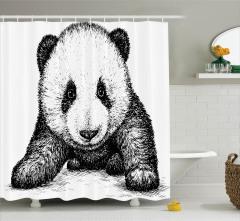 Bebek Panda Desenli Duş Perdesi Siyah Beyaz Sanat